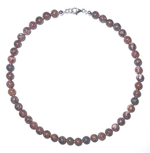 jaspe joyas (Collar) jaspe Cadena bolas con seda perlado anudado cierre 925plata de ley Número de modelo 128