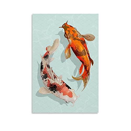Moderne Kunstdrucke, Individuellkeitsposter, orientalische Kultur-Poster, Yin & Yang Koi Fisch-Poster, abstrakte Kunst, Leinwand, Heimkunst, Dekoration, 20 x 30 cm