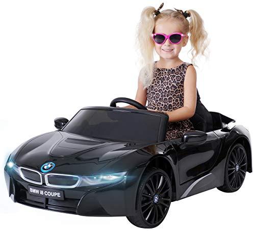 Actionbikes Motors Kinder Elektroauto BMW i8 - Lizenziert - 2 x 25 Watt Motor - Eva Weichgummireifen - 2,4 Ghz Fernbedienung (Schwarz I12)