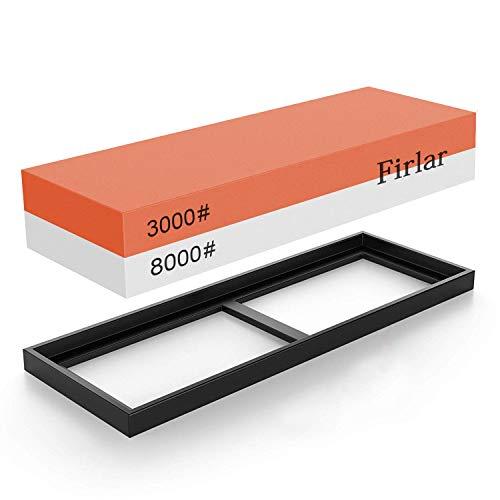 Firlar Wetzstein Schärfen Stein 3000/8000 Grit 2-IN-1 Abziehstein Messer Schleifklötze Kombination Schleifstein für messer, Rutschfestem Silikonhalter
