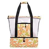 Goutui Bolsa de playa de malla con compartimento de aislamiento impermeable bolsa de picnic con bolsillo lateral cierre de cremallera para exteriores