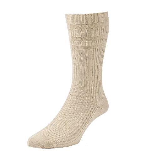 HJ Hall Herren 1 Paar Extra Wide Softop Cotton Socks In 4 Farben - 11-13 Mens - Haferflocken