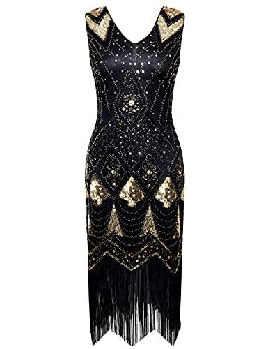 Vestido de mujer Coucoland 1920s, cuello en V, sin mangas, con flecos y lentejuelas, años 20, vestido de lentejuelas, ideal para fiesta de cóctel, disfraz de carnaval negro y dorado XL