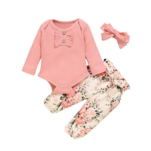 Fossen Conjunto Bebe Niña Otoño Mameluco con Volantes + Pantalones Florales - Ropa Bebe Recien Nacido Niña Invierno