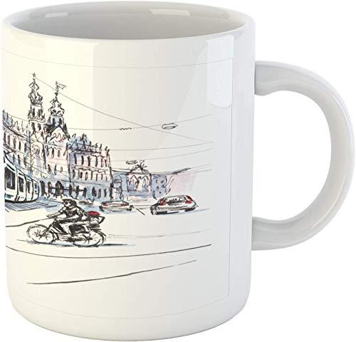 Taza de cerámica blanca brillante de 325 ml, diseño de tranvía y ciclistas de Amsterdam Países Bajos, diseño urbano de la vida urbana - Taza de café regalos interesantes para la familia y el amigo