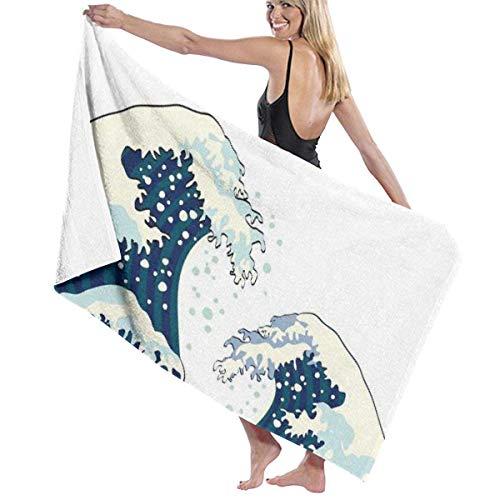 Ewtretr Asciugamani da Bagno Illustrazione Giapponese Oceano Grande Letto Morbido Asciugamano da Spiaggia Set da Bagno Accessori da Bagno