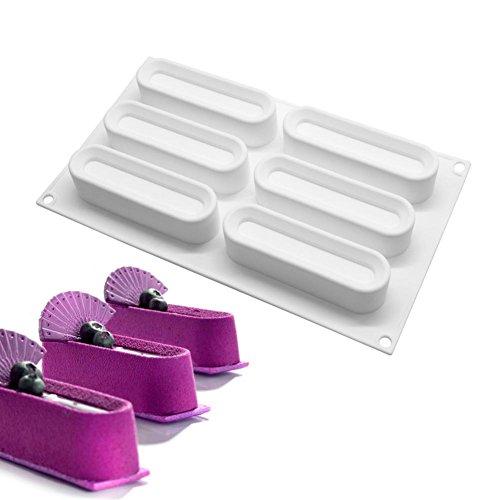 Zreal 6 Cavité Silicone Ovale Mousse Moule pour DIY Savon Bar Faire Gâteau Maker Fondant Pochoir
