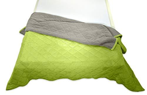 MESANA Tagesdecke Decke Bella grün Wendeoptik Rautensteppung Polyester Microfaser-Nicky Plüsch 220x240cm Kuscheldecke Zudecke Sofadecke kuschelig warm