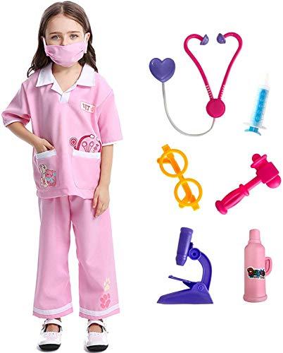 LOLANTA Niños Niñas Doctor Disfraces Veterinario Juego de Roles Disfraces de Halloween adjuntar Juguetes médicos