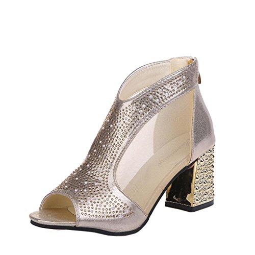 Zapatos de tacón Altas Ancho para Mujer Verano 2018 PAOLIAN Fiesta Zapatos de Boca de Pescado con Hilado Neto y Remache Moda Sandalias de Vestir Zapatos de Tacón Cuña Clásicos Boda