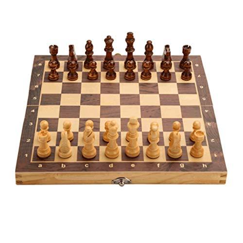 ZAZA Schachspiel hochwertig Magnetischer Holz-Schach-Set mit Klappbrettchess & Storage Slots, Inklusive 2 Extra-Queens, for Erwachsene Kid S/M/L/XL schachspiel Luxus (Größe : X-Large)