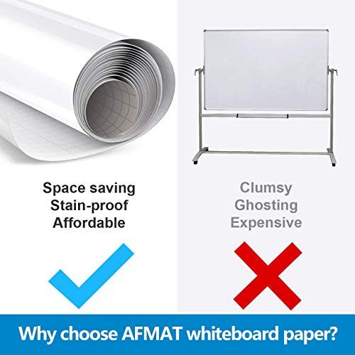 6'x4' Whiteboard Paper, White Board Adhesive Wallpaper, Large Dry Erase Wall Sticker, Dry Erase Paper Roll for Table/Doors, 9 Markers, Super Sticky, No Ghost Photo #2