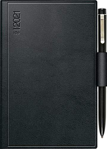 rido/idé 7016263901 Taschenkalender Industrie II, 1 Seite = 2 Tage, 75 x 112 mm, Kunststoff-Einband Skivertex schwarz, Kalendarium 2021, mit Kugelschreiber