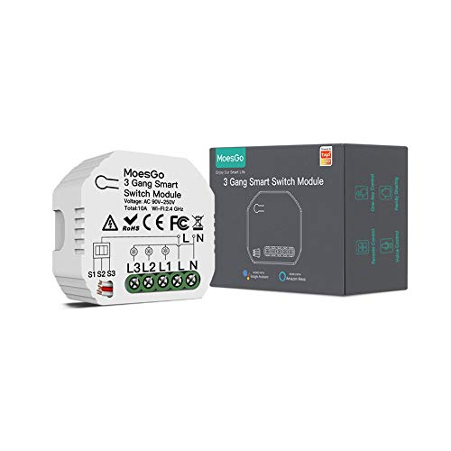 MoesGo Wlan Mini Smart Alexa Lichtschalter 3 Gang Relais Modul, WiFi Funk Schalter LED Unterputz Kompatibel mit Smart Life Tuya App Fernbedienung, Amazon Alexa und Google Home