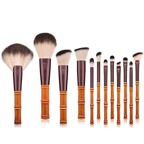 12pcs / lot pinceaux de maquillage poignée de bâton de bambou brosse de maquillage de bambou bambou costume avec sac de qualité (Color : Brown)