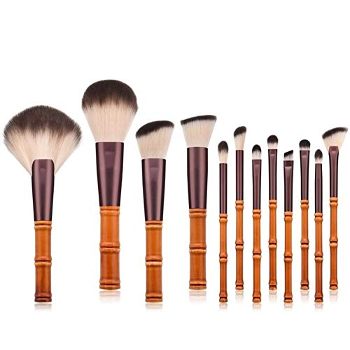LUOSI 12pcs / lot pinceaux de Maquillage poignée de bâton de Bambou Brosse de Maquillage de Bambou Bambou Costume avec Sac de qualité (Color : Brown)