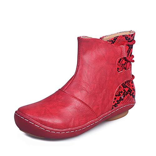 Botines Mujer Botas Mujer Zapatos de Cordones Vintage Otoño Botas Tacón Plano Cómodas Mujeres Botas Cortas con Cremallera Cabeza Redonda Zapatos Casuales
