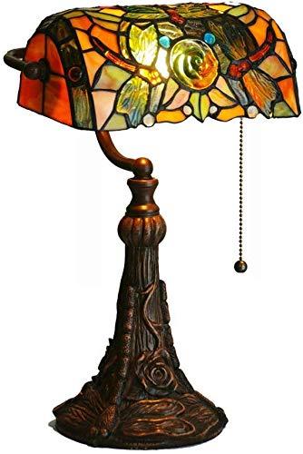 WZXCAP Lámpara de mesa de estilo europeo Banker, 10' libélula rosa de cristal tintado para sala de estar, dormitorio, mesita de noche, escritorio, lámpara de escritorio de luz de escritorio