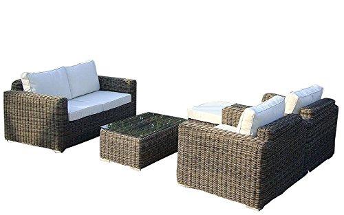 baidani Salon de Jardin Boite 10 C00043 Designer Salon de Jardin Present, Tabouret, Fauteuil, 1 Table de canapé avec Plateau en Verre, Marron