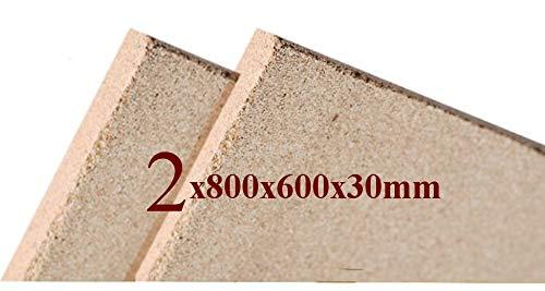 2x Vermiculite Brandschutzplatten   800x600x30mm   Schamotte-Ersatz