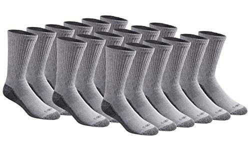 Dickies Herren Men's Multi-Pack Dri-Tech Moisture Control Crew Socken, Grau (18 Paar), L (18er