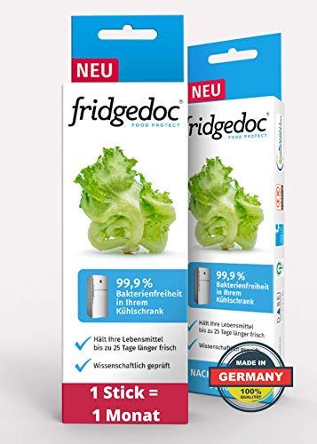 Fridgedoc - Kühlschrankreiniger | viruzide Desinfektion gegen Viren | 99% weniger Krankheitserreger | Lebensmittel 25 Tage länger frisch | Geruchsentferner | Geruchsneutralisierer