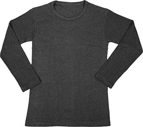 normani Kinder Thermounterhemd Winter Thermounterwäsche Langarmshirt mit Rundhalskragen für Jungen und Mädchen Farbe Schwarz Größe S/122-128