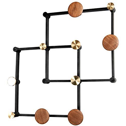 Perchero negro X Tend con botones de nogal y latón, para colgar en la pared, moderno y individual