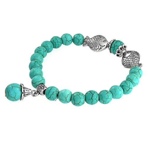 Bling Jewelry Estilo Bali Turquesa Comprimido Encanto Buddha Estiramiento De Pulsera para Mujer Yogui Aleación Chapada En Plata