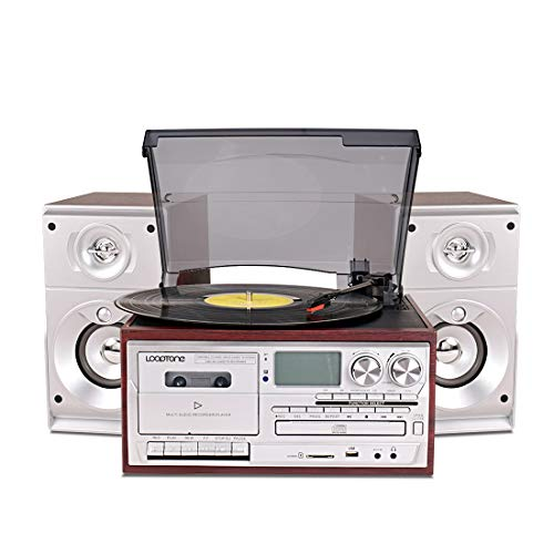 LoopTone Vinyl Record Player with Dual 15W External Speakers 9 in 1 3 Speed Bluetooth Vintage Turntable CD Cassette Player AM/FM Radio USB Recorder Aux-in RCA Line-Out