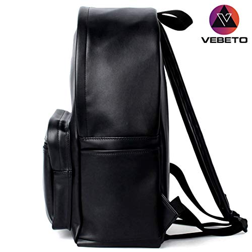 Vebeto PU Leather Canvas Backpack with 2 Straps 14 Inch Laptop Bag College Office Waterproof Travel Casual Bagpack Men Women (Black)