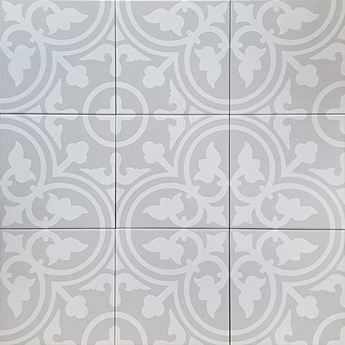 Marokkanische Keramik-Fliesen Nergis 20x20 cm 1 qm Feinsteinzeug mit Zementoptik | Frostsichere Bodenfliesen & Wandfliesen im Bad & Küche | Schöne Küchenrückwand Badezimmer | FL7033