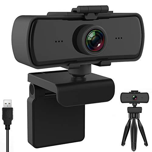 BENEWY Webcam 1440P mit Mikrofon und Objektivdeckel, Upgrade FHD 1080P Webcam, Plug and Play USB Kamera für YouTube, Skype usw. Videoanruf, Studieren, Konferenz, Kompatibel mit Windows/Linux/Android