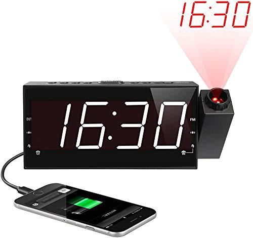 """Radiosveglia con Proiettore, Orologi a Proiezione, FM Radio, 7"""" Ampio Display a LED con Dimmer,..."""
