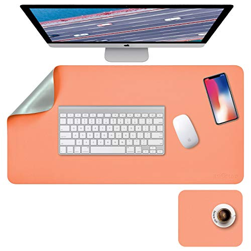 """Desk Pad, Desk Blotter, Desk Mat, leather Desk Pad Dual-Sided Green/Orange, 31.5"""" x 15.7"""" + 8""""x11"""" PU Leather Desk Pad 2 Pack Waterproof, Desk Pad for Laptop, Home Office Table Protector Blotter Gifts"""