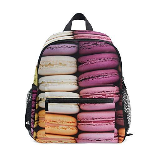 Schulranzen Vorschulrucksack Macaron bunt Keks Kindergarten Kindergarten Rucksack Leichter Bookbag für Mädchen Jungen Kleinkind Alter 3-5 Kinder mit Brustgurtschnalle und Pfeife