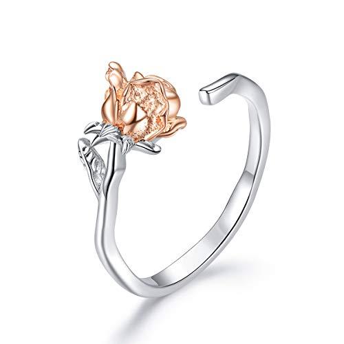 Sunflowe Stud Earrings Hypoallergenic Flower Earrings Jewelry for Girls,925 Sterling Silver Sunflower Open Ring Flower Shape Adjustable Ring Jewelry for Women and Girls (Rose Ring)
