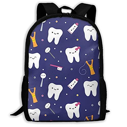 Bingyingne Zaino per dentifricio in tessuto dentale blu Zaino casual Zaino da viaggio impermeabile Zaino da viaggio Borsa da viaggio per computer portatili da viaggio Elegante borsa per computer