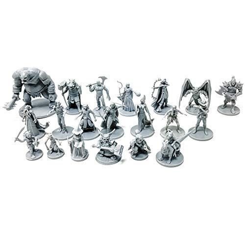 20 Unique Fantasy Tabletop Miniatures for Dungeons and Dragons Miniatures. 28MM Scaled 20 Unique Designs, Bulk Unpainted Miniatures, Great for D&D Miniatures (0.17a Miniature)