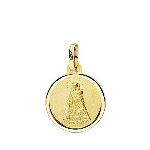 Medalla Oro 18K Virgen Desamparados 14mm. Bisel Liso [Ab3441]