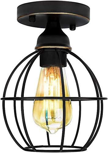 Vintage Industrielle Deckenleuchte - Frideko Retro Metall Käfig Lampenschirm Deckenlampe 1-flammige runde Kronleuchter E27 Fassung für Flur Schlafzimmer Zimmer Bauernhaus Deckenbeleuchtung - Schwarz