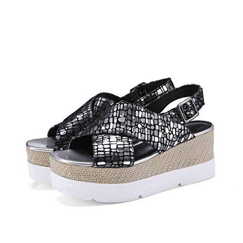 Genuine Leather Women Sandals Sexy Buckle Strap Gladiator Sandals Wedges Platform Summer Shoes,Silver,10