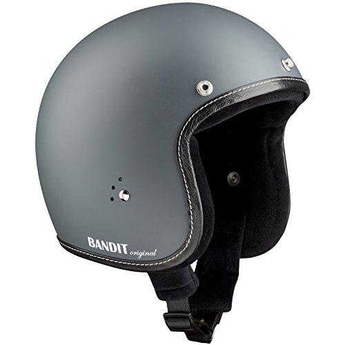 Bandit Helmets Jethelm premium kleine Bauweise Innenfutter Baumwolle Brillenschlaufe Sonnenschild, Größe:M(57-58cm), Farbe:grau-matt