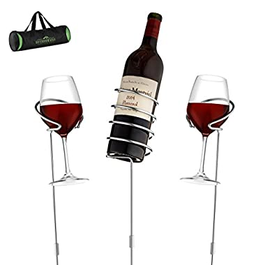 Wine Bottle & Cup Standing Holder Rack | Adjustable Height, Durable Metallic Frame, Sturdy Base & Secure Grip | Holds Bottles Of Wine, Beer,Champagne,Beverages,Glasses& More (5 Pieces Set)