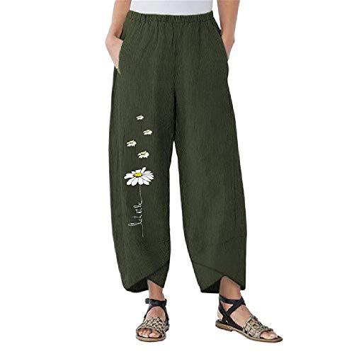 N\P Mujer Pantalones Pantalones Pequeños Margaritas Ancho Pierna Suelta Pantalones Ancho Pantalones De La Flor Suelta
