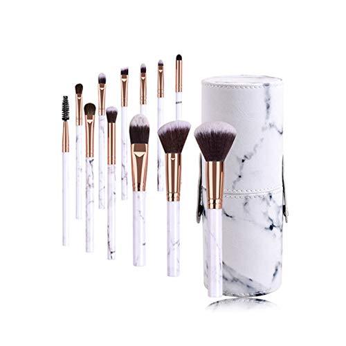 ZYJ Ensemble De 12 Pinceaux De Maquillage avec des Poignées en Marbre, avec Fard À Paupières De Base, Brosse À Sourcils, Éponge De Maquillage, Feuilletée Et Sac De Maquillage,A