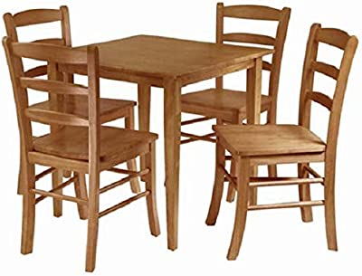 Amazon Com Winsome Groveland 5 Piece Wood Dining Set Light Oak Finish Table Chair Sets