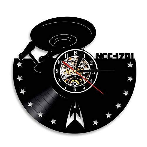 BFMBCHDJ Reloj de Estilo de Vinilo Europeo Creativo de Star Trek Retro nostálgico Decoración del hogar Reloj de Pared Reloj de Registro Reloj de Pared A5 Sin LED 12 Pulgadas