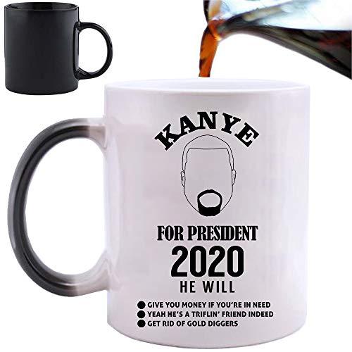 Kanye for President – Taza mágica con cambio de calor de 325 ml y caja de regalo set de té, café, oficina, hogar