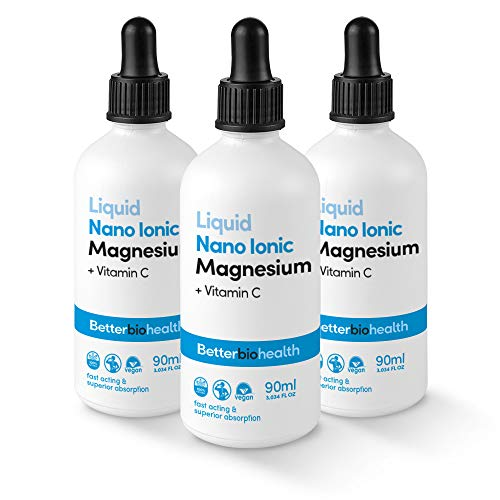 BetterBio Health Nano Ionic Liquid Magnesium 90ml - Plus Vitamin C, Good for Bone Health, Healthy Heart, Migraine Relief, Insomnia and General Fatigue (Triple Pack)
